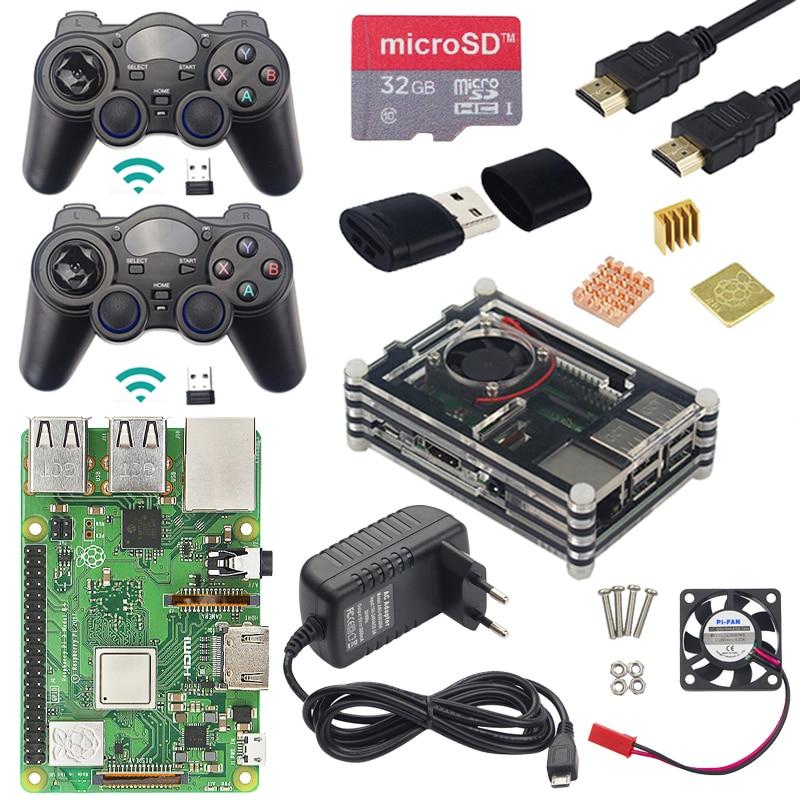 3 Raspberry Pi Modelo B Plus Gaming kit + Controlador de Jogo Sem Fio + Case + Energia + 32G SD cartão + Cabo HDMI + Dissipador de Calor para Retropie 3B Plus