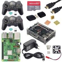 Raspberry pi 3 modelo b plus jogo + controlador de jogo sem fio + caso + alimentação 32g cartão sd cabo hdmi dissipador calor para retropie 3b plus