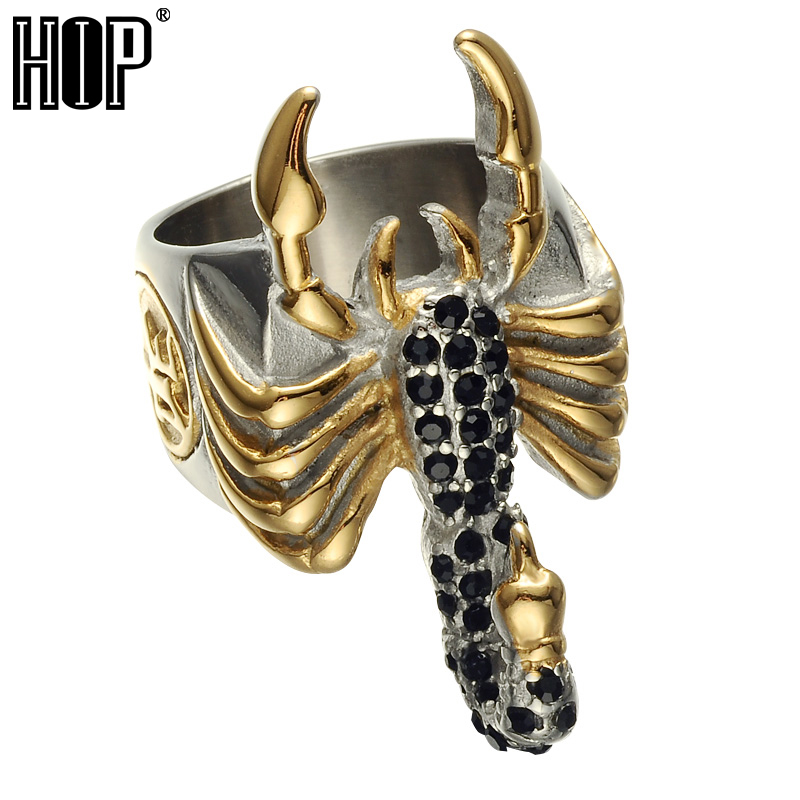HIP Punk Two Tone Gold Color Micro Pave Black Stone