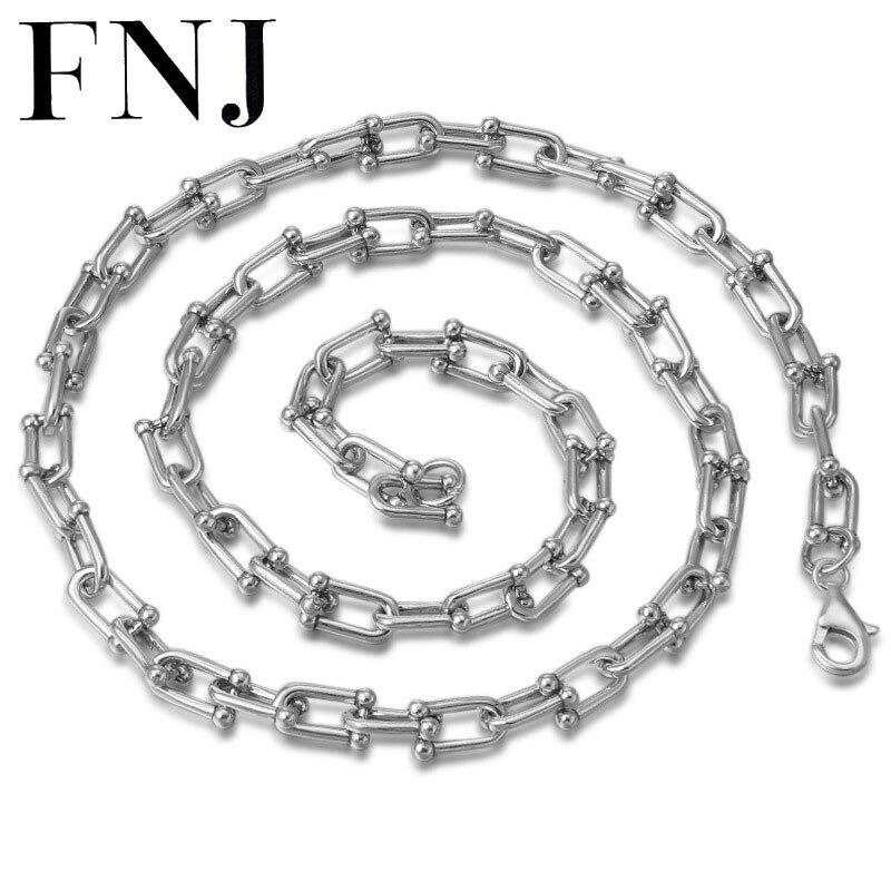 FNJ 8mm lien chaîne colliers 925 argent 50 cm à 65 cm mode Original S925 Thai argent femmes hommes collier bijoux Punk