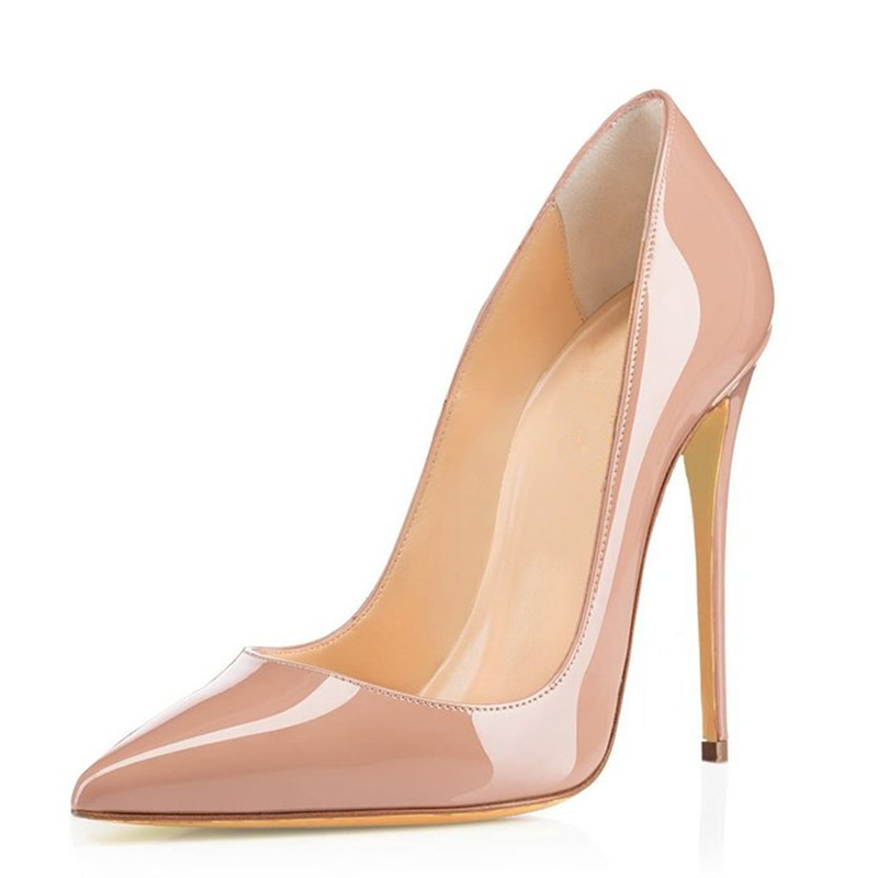 ФОТО 2017 Rushed Zapatos Mujer Tacon Brand Shoes Woman High Heels Women Pumps Stiletto Thin Heel Women's Nude Pointed Toe Size 35-46