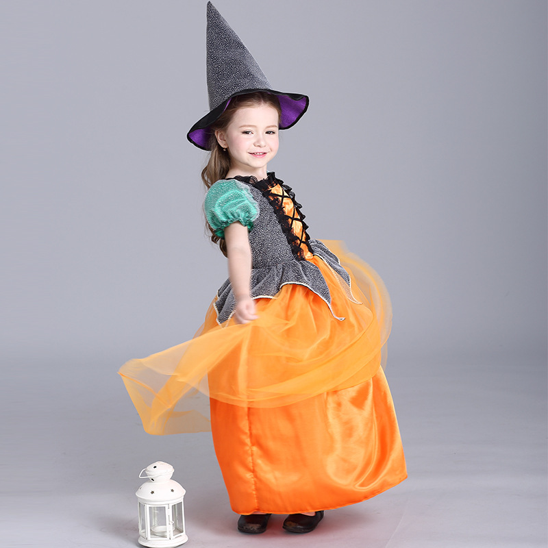 Kids Children Pumpkin Halloween Costumes Girls Cosplay Party Dress with Witch Hat