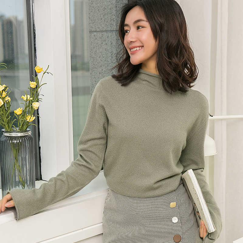 뜨거운 판매 여자 절반 터틀넥 플레어 슬리브 100% 캐시미어 스웨터 점퍼 순수 컬러 소프트 풀오버 famale 가을 겨울 스웨터