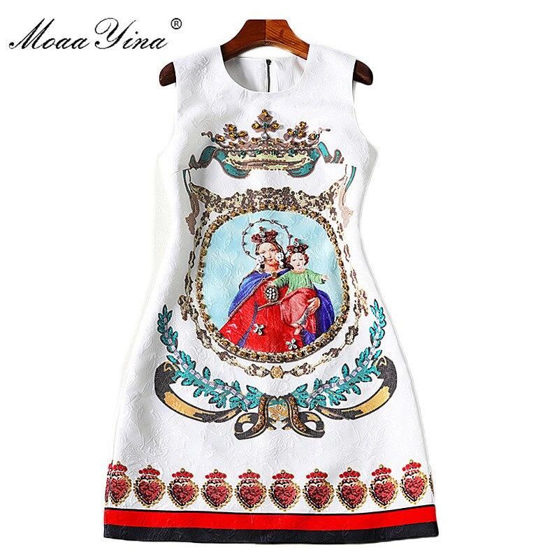 MoaaYina 2018 Fashion Designer Runway Dress Summer Women Sleeveless Jacquard Floral Print Character Beaded Casual Holiday Dress