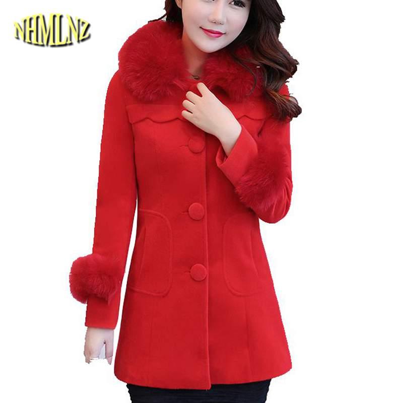 Slim Coréenne gray Moyen 2019 Long Pink Veste Hiver Survêtement Col Manteau Tu91 Chaud Épais Nouvelles De Mode red Élégantes Fourrure Femmes Laine FwzAqxBFT