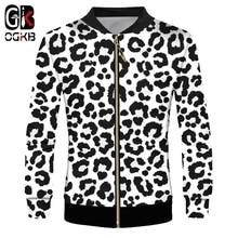 Zip Jacket Autumn Coat Leopard Clothing Sweatshirts Printed Plus-Size Snow OGKB Pullover