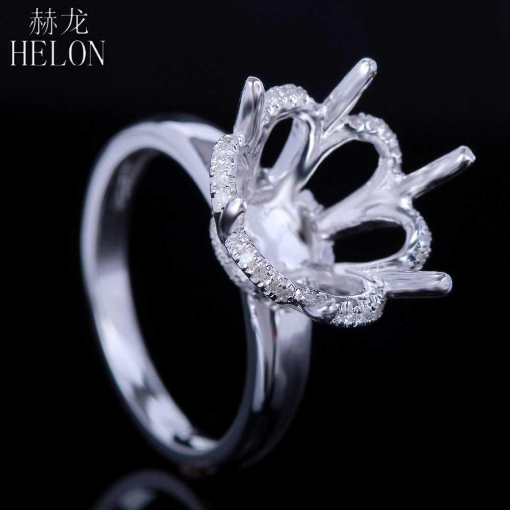11-12mm Round Cut VS Diamond Semi Mount Vintage Wedding Ring 925 Sterling Silver