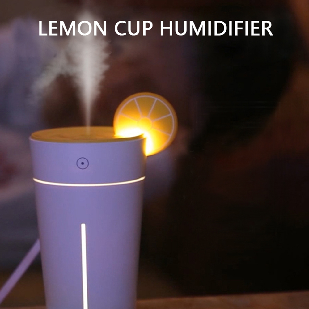 200Ml Lemon Cup Air Humidifier USB Electric Ultrasonic Air Purifier With Warm LED Lights