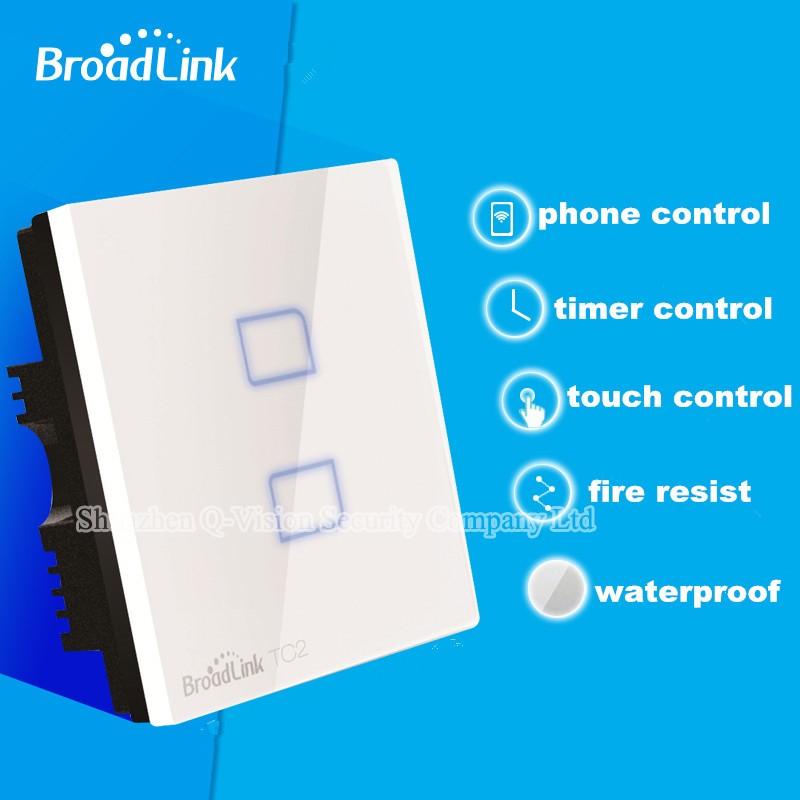 2---UK Standard Broadlink TC2  2 Gang Wireless Wall Touch Light Switch RF433 Remote Control Wifi Phone Control Lamp Smart Home