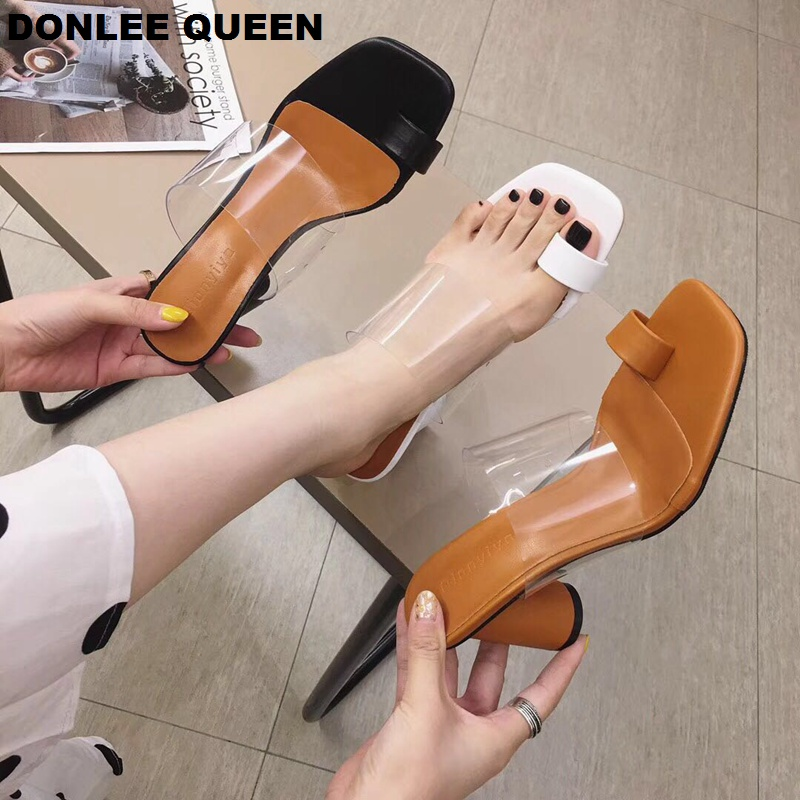 DONLEE QUEEN Transparent Sexy High Heel Slippers Women Summer Shoes Female Sandals Slip On Slides 2019 Casual Sandals Mujer Shoe