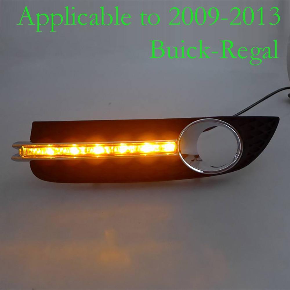 2009-2013 годы для DRL Автомобильный комплект для Бьюик Регал светодиодные дневные ходовые огни с поворотом световой сигнал Сид DRL белый и желтый 12В