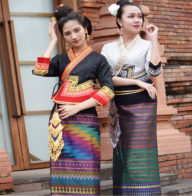 Retro water conservancy Festival life dress festival costumes Thailand Laos Myanmar Traditional Dai costume women Ethnic suits