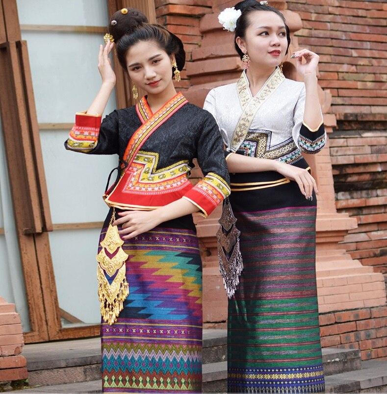 Retro water conservancy Festival life dress festival costumes Thailand Laos Myanmar Traditional Dai costume women Ethnic suits