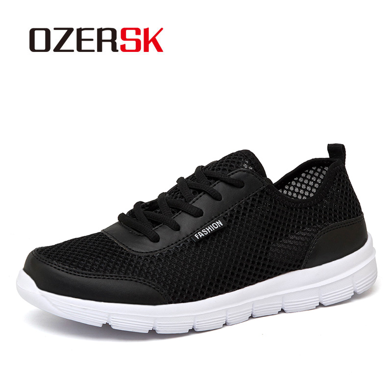 OZERSK Men Shoes Summer Sneakers Breathable Fashion Mesh Casual Shoes Couple Lover Mens Mesh Shoes Big Plus Size Lace Up Shoes