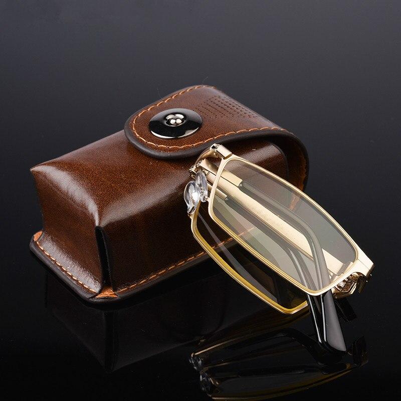 High-end Folding Anti Blue Ray homens óculos de Leitura Dobrável Óculos de sol Com Caixa de Óculos Para Presbiopia + 1.0 + 1.5 + 2.0 + 2.5 + 3.0 + 3.5 + 4.0