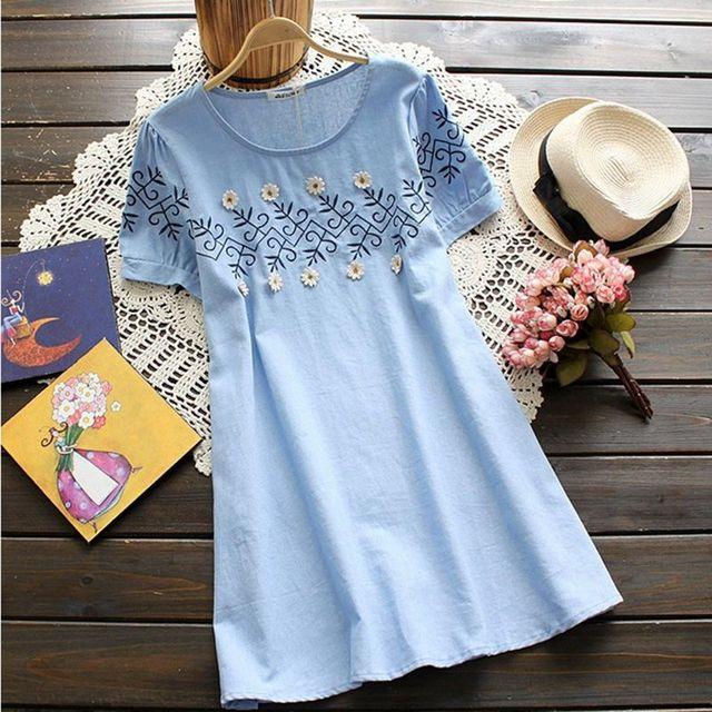 Elegantes roupas de maternidade novo estilo verão sólidos bordado tamanho mais solto dress para grávidas roupas femininas gravidez desgaste