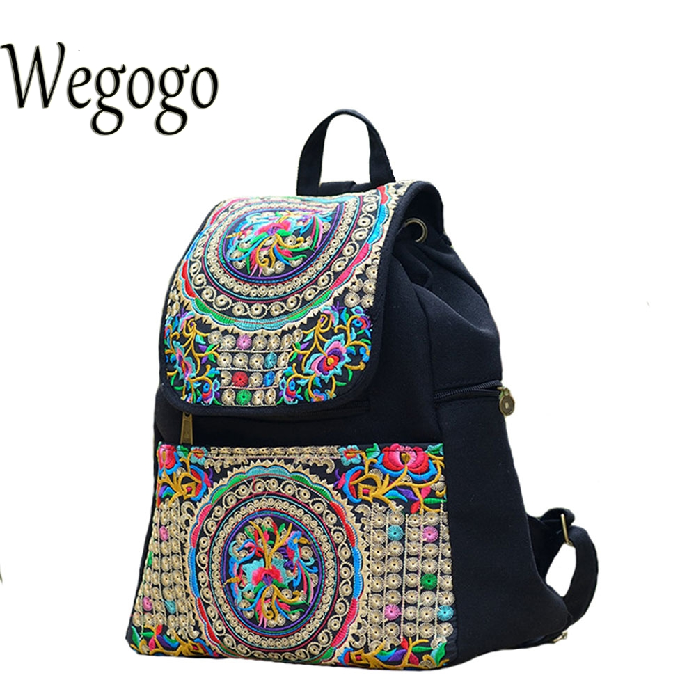 School bag embroidery - Wegogo Women Backpack Embroidery Canvas Girls Vintage School Bags Unique Ethinic Travel Rucksack Shoulder Bags National