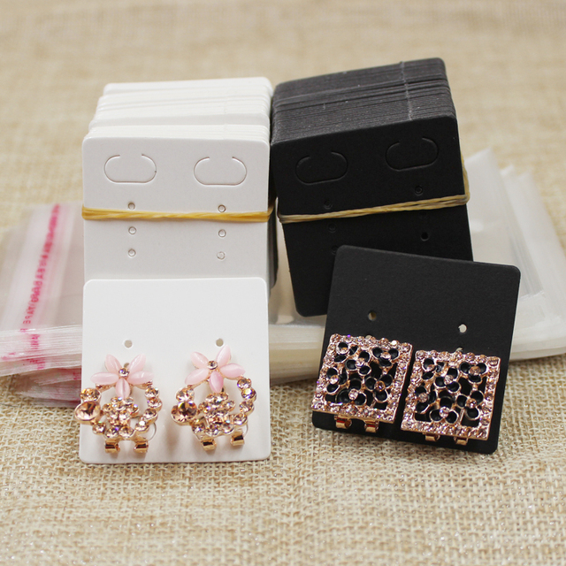 4 4cm White Black Blank Paper Card Stud Earring Package Tag 100pcs With
