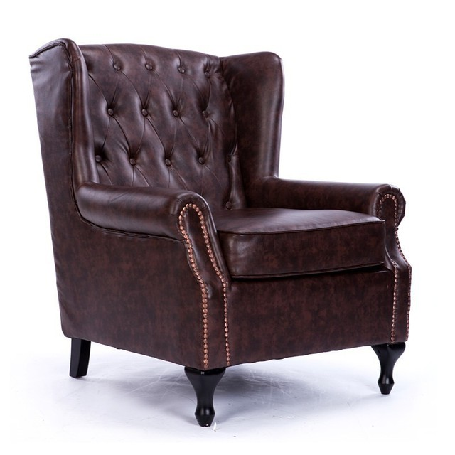 New Clical European American Leather Sofa Chair Furniture Vintage Antique Finish Living Room