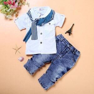 Image 1 - Moda bebê menino 3 pieces conjuntos de roupas crianças camisa + jean + cachecol terno meninos roupas crianças roupas casuais infantis calça