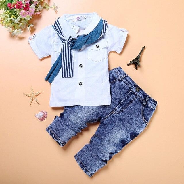Moda bebê menino 3 pieces conjuntos de roupas crianças camisa + jean + cachecol terno meninos roupas crianças roupas casuais infantis calça