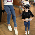 2017 spring autumn girl jeans kids clothing casual jeans pants Cat Print girls jeans