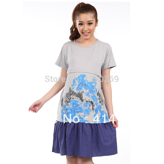 Maternity Patchwork Cotton Dress for Pregnant Women Print Nursing ...