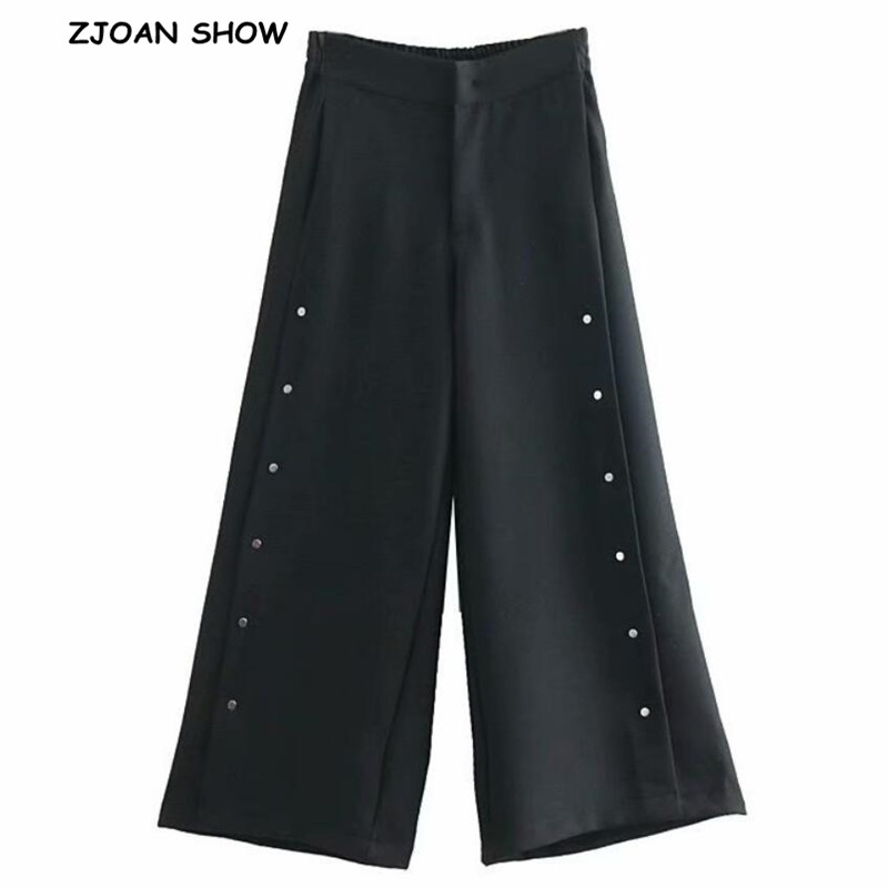2019 Spring Split Metal Covered Button Wide Leg Pants Black Vintage Woman High Waist Full Length Loose Casual Trousers