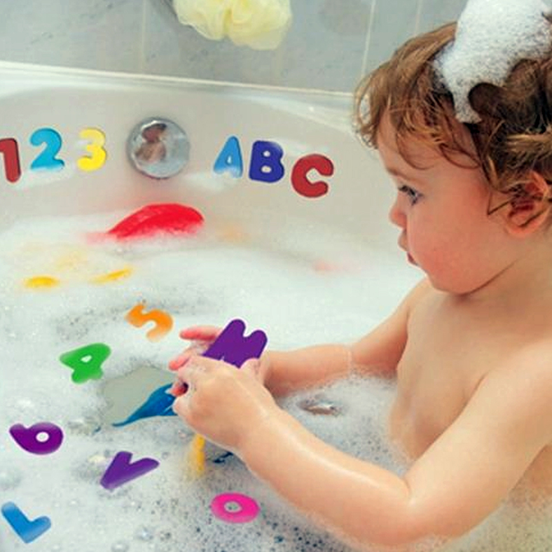36 Pieces / Set Of Alphanumeric Alphabet Puzzle Children Baby Water Toys Bathroom Early Education Sucker Toy Bath Toys Soft EVA