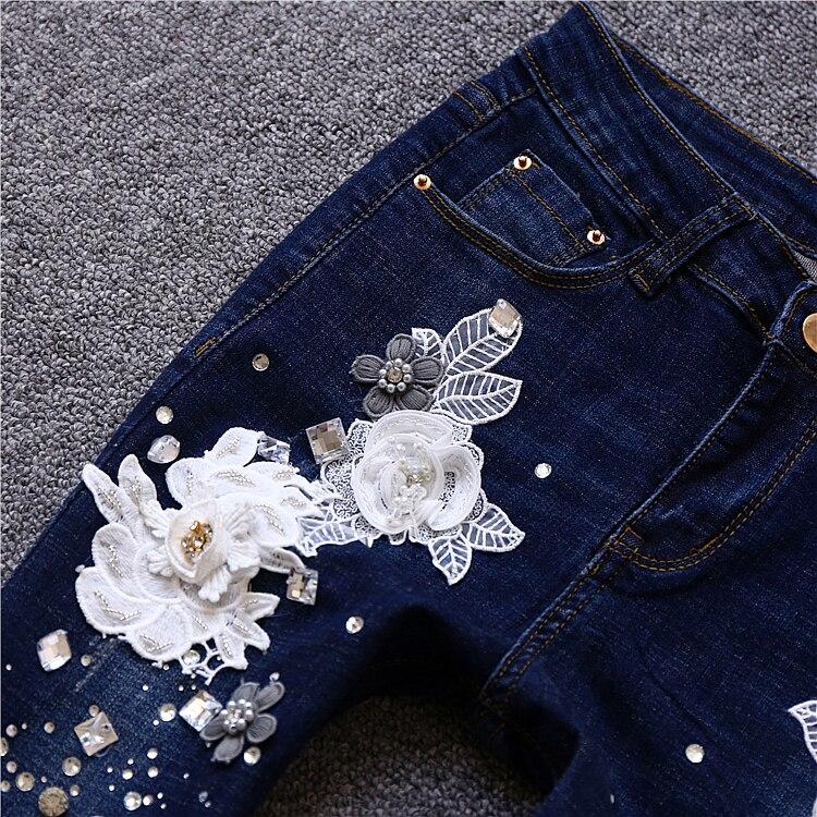 Femme Fiore 2018 Jean Pantaloni Bianco Jeans Donna Skinny Modo Del Ricamo Marca Blu Dei Donne Di Nono Strappati Denim 3d dxthsBQrC