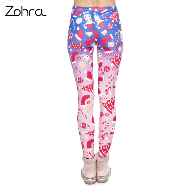Zohra New Design Women Legging Christmas Symbols Ombre Printing Fitness Leggings High Waist Woman Pants 2