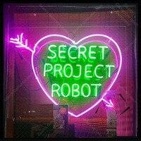 Sinal de néon para o Projeto Secreto do Robô com Coração Home decor Quarto Exibição Beer Expressar Neon Light up sinal parede de Artesanato loja