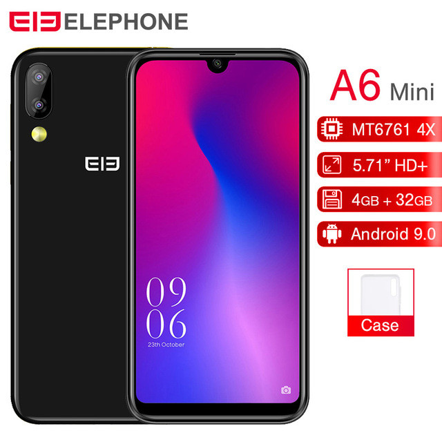 "Original Elephone A6 mini MT6761 Quad Core 5.7""FHD Android 9.0 Smartphone 4GB RAM 32GB/64GB ROM 16MP Face ID 4G LTE Mobile Phone"