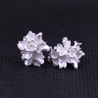 925 jewelry Ruili magazine elegant women's flowers ear button