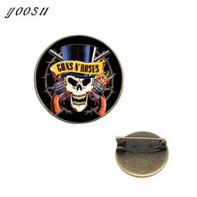 513e33277 New Fashion Guns N Roses Lapel Pins Steampunk Glass Dome Rock And Roll Band  Butterfly Brooches Collar Pin