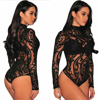 Women Sexy Sheer Mesh Lace Jumpsuit Long Sleeve Top Turtleneck Bodysuit USA 8