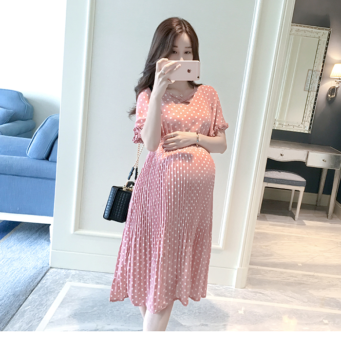 Casual Long Pregnancy Dresses For Women Short Sleeve Loose Maternity Dresses Summer New Chiffon Pregnant Dress Maternity Clothes (6)
