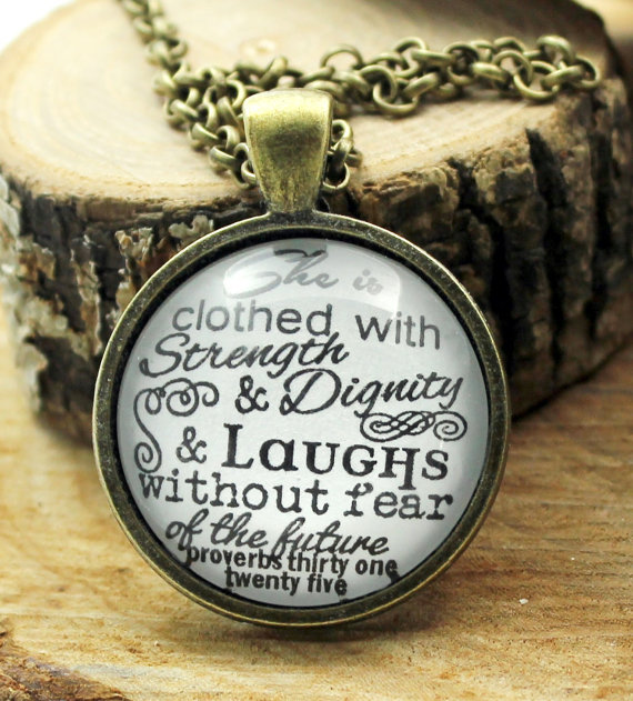 """She Is Clothed With Strength And Dignity Bracelet: Fashion Glass Necklace Jewelry """"She Is Clothed With"""