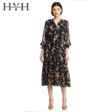 HYH Haoyihui Printed Flower High Waist with Belt Smocking Long Falbala Sleeve Midi Dress V-neck Sweet Brief Chiffon Dress все цены