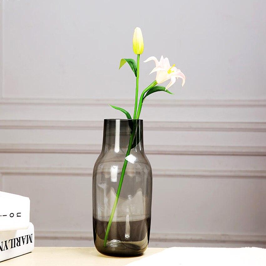 modern creative multicolor glass vase graygreenpurple transparent home decorative glass bottle terrarium hydroponic container - Decorative Glass Vases