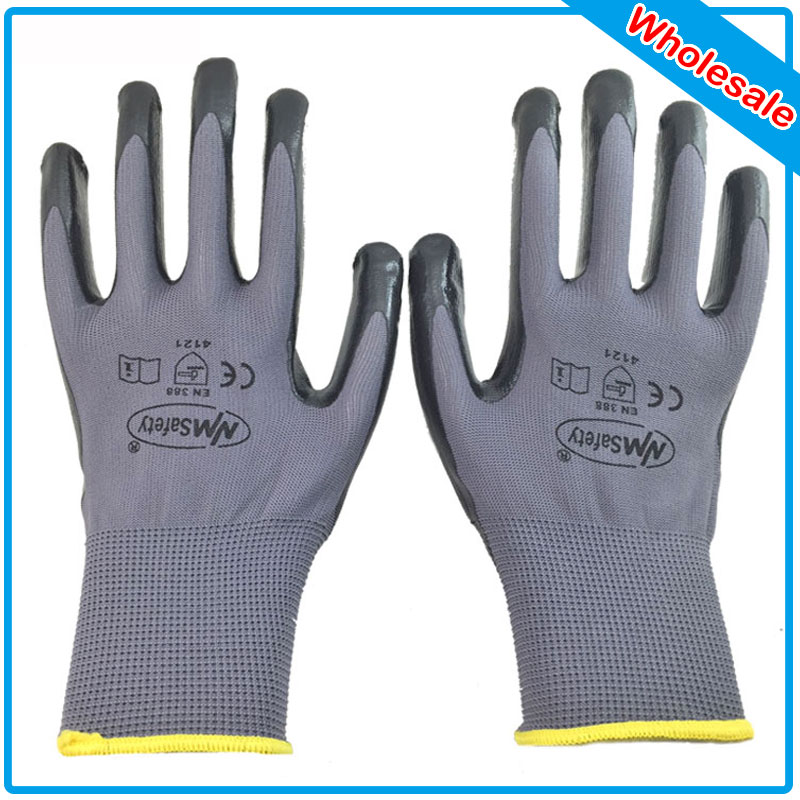 NMSafety 120Pairs nylon nitrile dipping work gloves/nitrile working glove/Nylon knitted nitrile Palm gloves west brom bournemouth