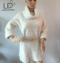LOVELYDONKEY mink cashmere turtleneck sweater lengthy Pullover sweater coat free transport M653