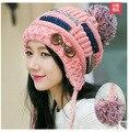 Корейский осень/зима вязаная шапка женская прилив милые толстые теплая зима cap зима девушка шляпа
