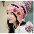 Korean autumn/winter knitted hat women 's tide cute thicker warm winter cap winter girl hat