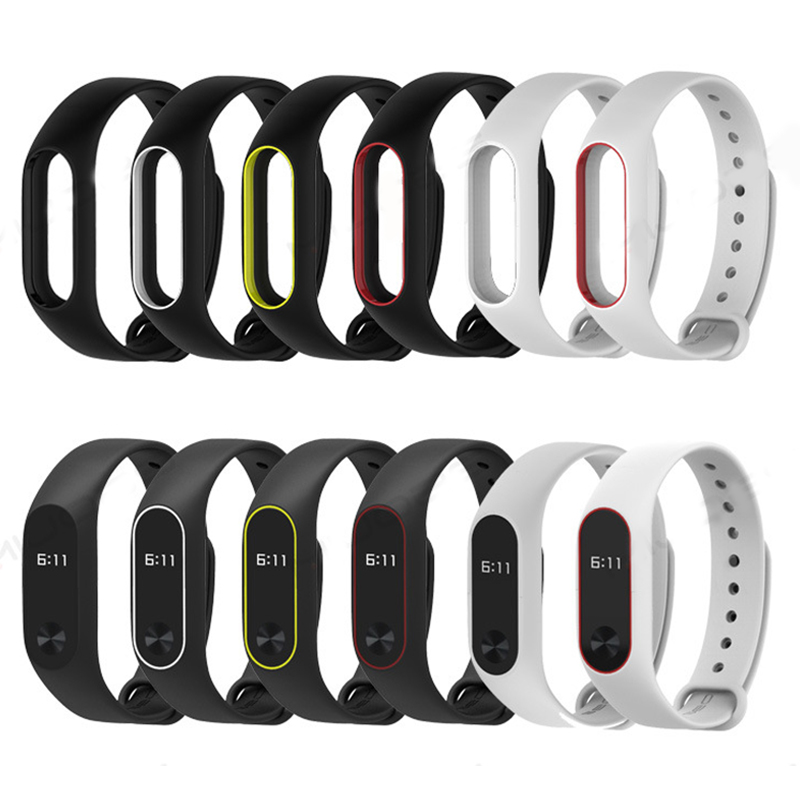 New Replace Mi Band 2 Strap Colorful Silicone Wrist Strap Dual Color Pulsometro Belt For Xiaomi Band 2 Miband Smart Bracelet