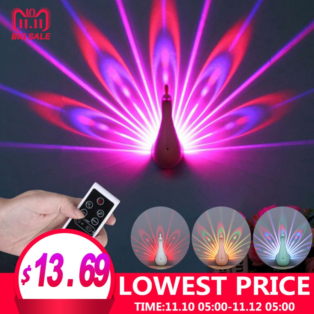 USB Charging Touch Switch Little Night Light For Children LED Color Bedroom Decoration Peacock Pattern Projector Bedside Lamp touching led usb charging bedside night light