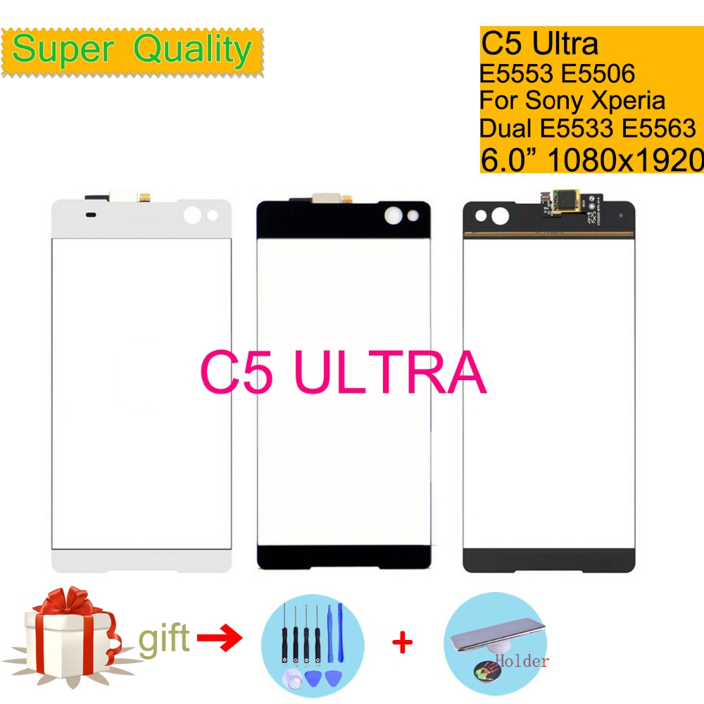 Touchscreen For Sony Xperia C5 Ultra E5553 E5506 Touch Screen Digitizer Front Glass Panel Sensor Lens C5 Ultra DUAL E5533 E5563