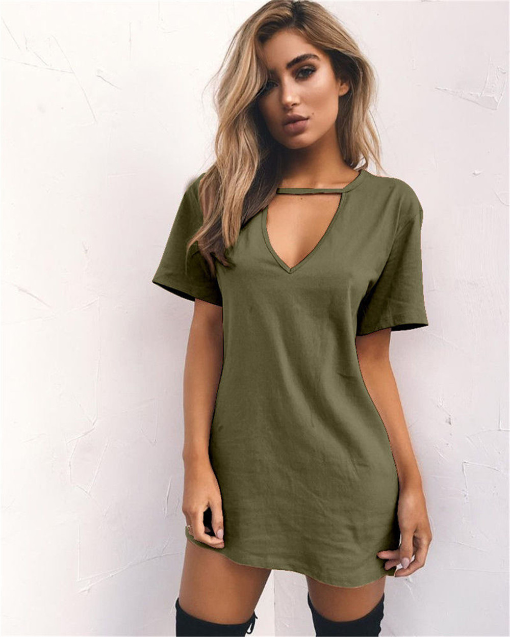 Women Tshirt Dress 2019 Choker V-neck Summer Dresses Short Sleeve Casual Sexy Halter Loose Boho Beach Dress Vestidos Plus Size