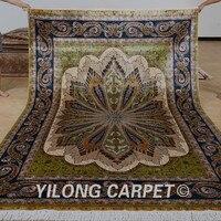 Yilong 6.56'x9.84' Handmade traditional turkish silk rug light green hereke silk carpets for sale (0781)