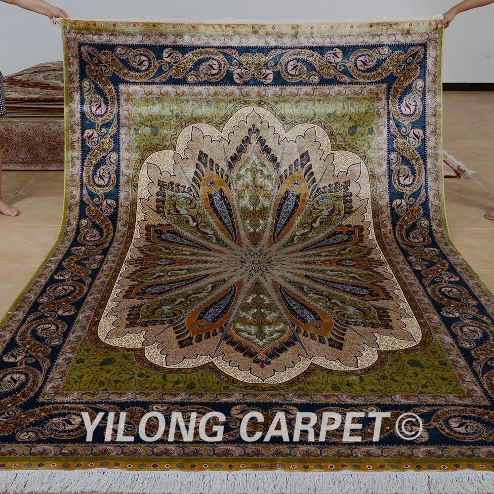 Yilong 6 56 X9 84 Main Traditionnel Turc Soie Tapis Vert Clair